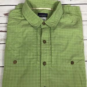Patagonia Button Up Green Long Sleeve Shirt Large